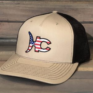 High Call Trucker Hat - Gray/Black American Flag Logo - High